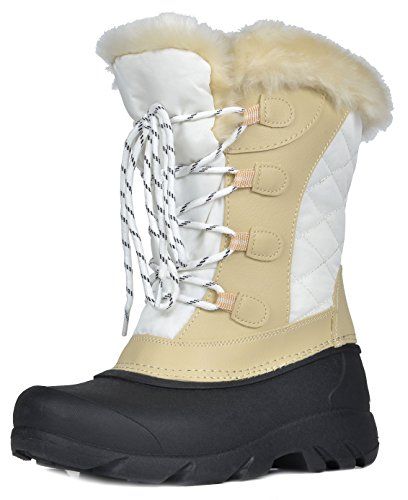 DREAM PAIRS Women's Linx Beige White Faux Fur Lined Mid Calf Winter Snow Boots Size 9 M (Heel Womens Winter Snow Boot)