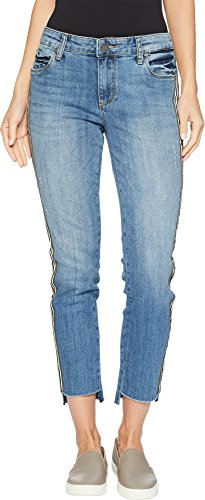 KUT from the Kloth Reese Ankle Straight Leg w/Fray Step Jeans in Literal Literal/Medium Base Wash 4