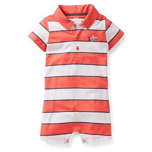 Carter's Baby Boys Polo-style Romper (3 Months, Red)