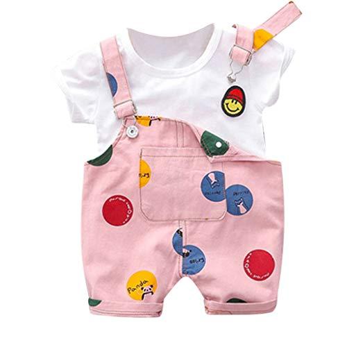 Baby Boys Girls Overalls Clothes Set Outfits Suits, Infant Short Sve Shirt+Bib Pants+Straps Shorts Set 9M-3T Pink