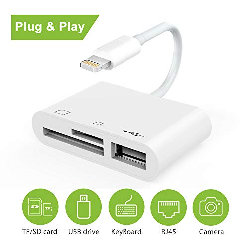 Lightning to SD Card Reader, SD Card Reader for iPhone, Trail Game Camera Viewer for Hunting, Lightning to USB Camera Adapter, Digital Camera Reader Converter for iPhone/iPad, Plug and Play