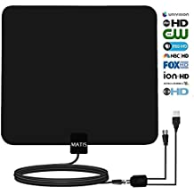 TV Antenna-MATIS Indoor Amplified Digital HDTV Antenna 60~80 Mile Range Local Broadcast 4K/HD/VHF/UHF Signal TV Channels w/ Detachable Amplifier and 13.5feet Coax Cable(2018 Newest Version)