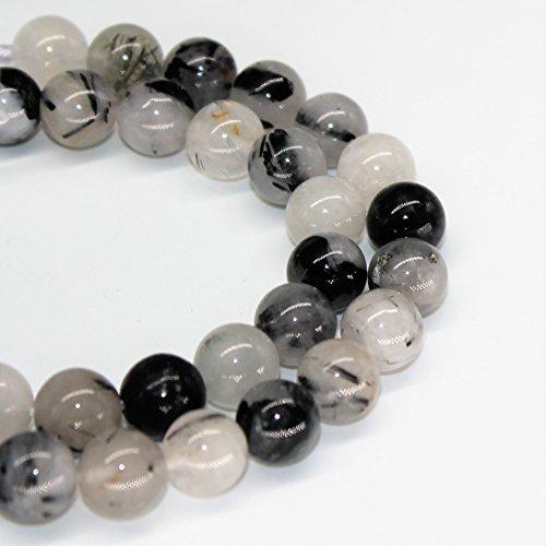 "Lynxus Tourmalinated Quartz Natural Gemstone Loose Beads 6mm 62 Beads Per 15.5"" Strand"