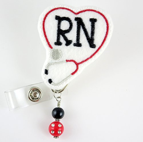 RN Heart Stethoscope with Beads Red - Nurse Badge Reel - Retractable ID Badge Holder - Nurse Badge - Badge Clip - Badge Reels - Pediatric - RN - Name Badge Holder