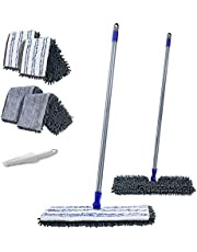 MASTERTOP 360 ° Flat Mop 2 in 1 Two-Sided Chenille Microfiber Mop with 4 Free Replaceable Magic Mop Head and Scraper for Cleaning Dry & Wet Floors