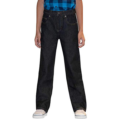 (Faded Glory Boy's Relaxed Fit Blue Jeans with Adjustable Waist (Black Wash Denim, Size 7, W23 x L22))