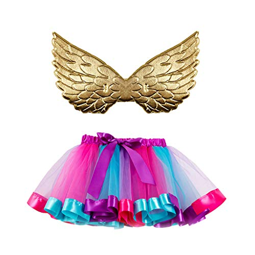 COM1950s Girls Kids Party Dance Ballet Toddler Baby Costume Skirt+Wing Set Halloween Party Pettiskirt