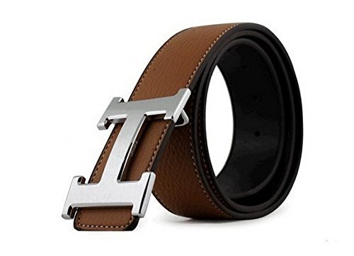 [Dinamit Men's H Reversible Leather Belt With Removable Buckle Brown with Silver Buckle] (Brown Leather Belt Silver Buckle)