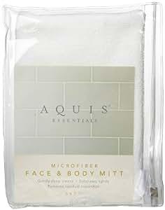 Aquis Microfiber Face and Body Mitt - White - 5 x 7