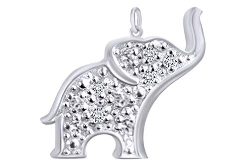 Round Shape White Natural Diamond Accent Elephant Animal Charm 14k White Gold Over Sterling Silver