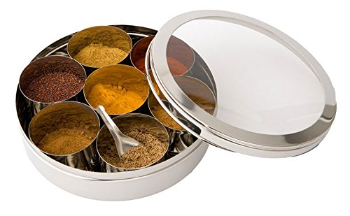 Stainless Steel Spice Box (Masala Dabba) with Clear Lid Size 12