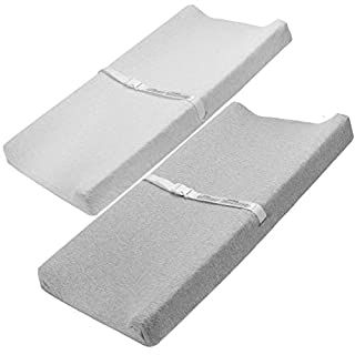 Bufims 2 Pack Changing Pad Cover Ultra Soft and Stretchy Cotton Jersey Fabric Washable Changing Table Sheet for Baby White and Grey
