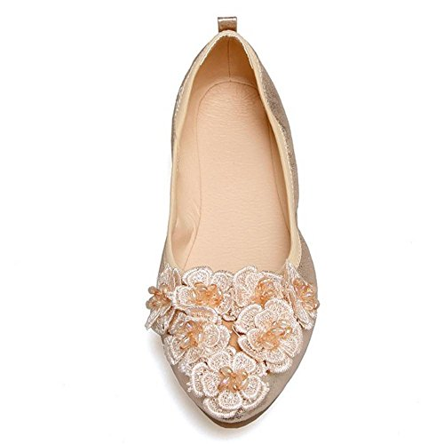 Gold TAOFFEN Fashion Women's Loafer Slip Size Ballet Flower 33 Asian On Shoes Shoes xHxnw54z