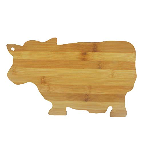 """JB Home Collection 4576, Bamboo Wood Cow Cutting Board Cow Shaped Serving Board 13.5"""" x 9"""""""