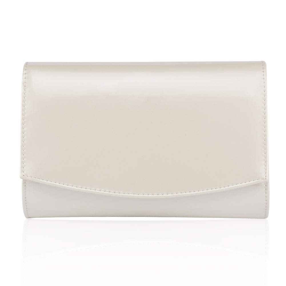 Women Leather Fashion Clutch Purses,WALLYN'S Evening Bag Handbag Solid Color (Natural) by WALLYN'S (Image #2)