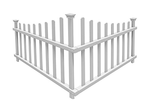 Picket White House Fence - Zippity Outdoor Products ZP19007 No-Dig Vinyl Corner Picket Unassembled Accent Fence, 42