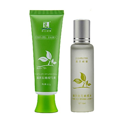 Weisy Green Tea Fast Hair Removal Cream 60g + Lotion 30ml Set Body Hair Removal Cream Herbal Essence Anti-allergic