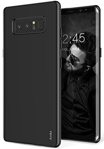 Galaxy Note 8 Case, Aeska Ultra [Slim Thin] Flexible TPU Gel Rubber Soft Skin Silicone Protective Case Cover For Samsung Galaxy Note 8 (Black)