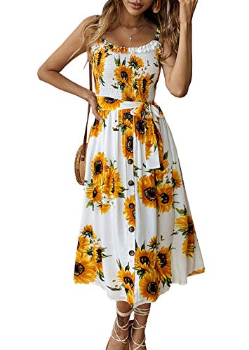 - PRETTYGARDEN Women's Summer Sunflower Boho Spaghetti Strap Semi-Backless Button Down Swing A-Line Midi Dress with Belt and Pockets