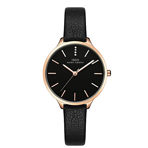 IBSO Female Watches Leather Strap Round Case Fashion Women Watch for Sale(6603-Black) by IBSO