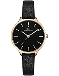 Female Watches Leather Strap Round Case Fashion Women Watch for Sale(6603-Black)