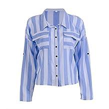 Women Long Sleeve Striped Summer Autumn Loose Blouse Button Down Shirt