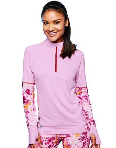 Duofold Women's Light Weight Thermatrix Performance Thermal Quarter Zip Pullover, Ice cake/Splatter Canvas, (Lightweight Thermal Pullover)