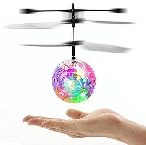 子供のおもちゃ RCフライングボール LEDヘリボール きらきら光る ライト 赤外線ヘリ 輝くボール 手の平で操作 USBケーブル付き