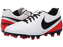 Nike Womens Tiempo Rio III FG Soccer Cleat (White/Bright Crimson/Black) (9)