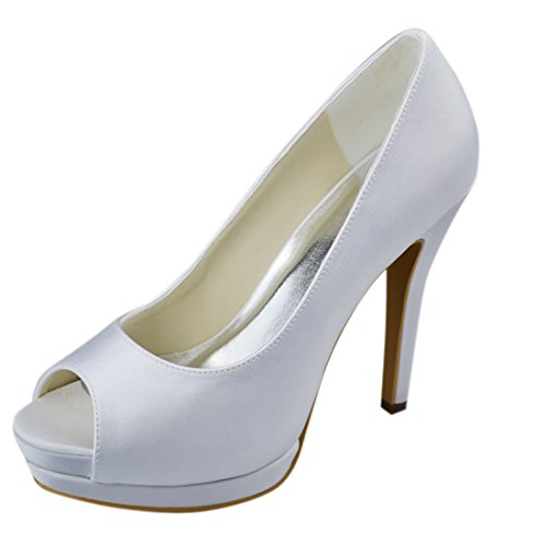 Shoes 11cm Open Minitoo Heel Party Heel Stiletto Wedding Toe GYAYL015 Ivory Bridal Evening Womens Satin gwpwqPO
