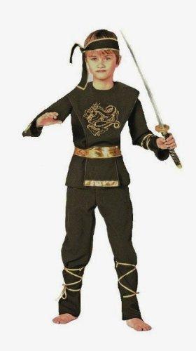 Kids Ninja Costume Uk (Black Ninja Martial Arts Childs Fancy Dress Costume - XS 116cms)