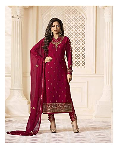 Laxminarayan Georgette Fabric Heavy Embroidered Designer Churidar Salwar Suit with Nazmeen Chiffon Dupatta (Small, Pink) (Designer Churidar Suits)