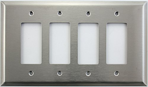 Over Sized Jumbo Satin Stainless Steel 4 Gang Cover Wall Plate - 4 GFI/Rocker Opening