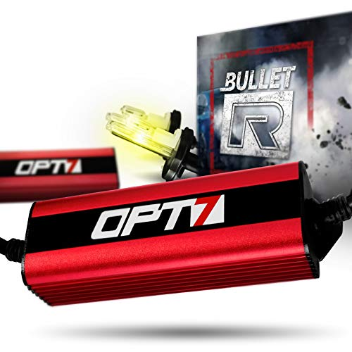 OPT7 Bullet-R H4 9003 Hi-Lo HID Kit - 3X Brighter - 4X Longer Life - All Bulb Sizes and Colors - 2 Yr Warranty [3000K Yellow Xenon Light]