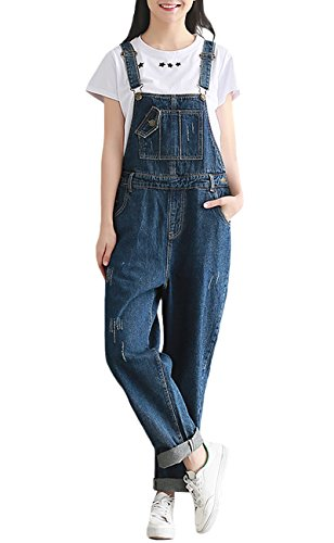 SUGIRLS Women's Casual Vintage Bib Overalls Wide Leg Harem Denim Jumpsuit Pants (Denim Vintage Overalls)