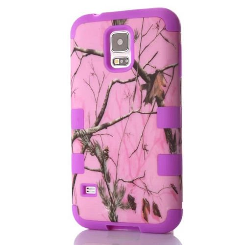 Samsung Galaxy S5 Pink Branch Camo Camouflage Armor Protection Hybrid Impact Heavy Duty Shockproof Muddy Leaf Straw Rugged Mossy Defender Girl Case [Hard PC + Soft Silicone] By Tech Express (Purple)