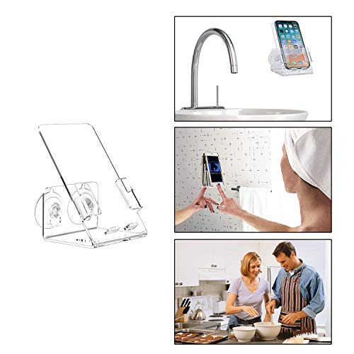 Suction Cup Phone Holder Stick On Shower Bathroom Kitchen Mirror Wall,Universal Cell -