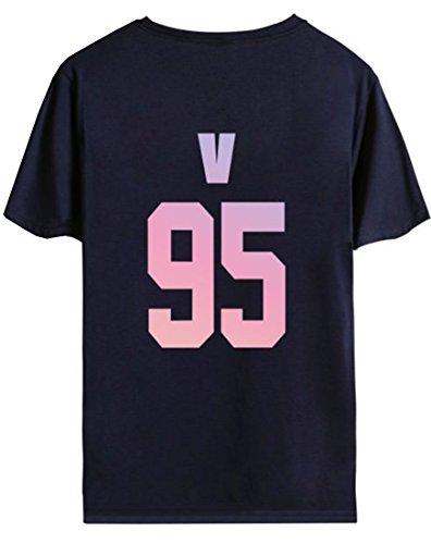 Numeri 95 Blu Emilyle Corta Bts Bangtan Sportiva E Uomo V Stampa Kpop Girocollo Boys Cool Teen Unisex Donna Fans Scuro T Manica shirt Per Maglietta Lettere 6q6fC