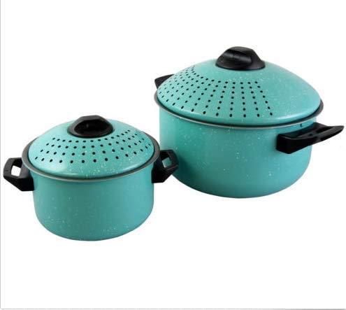 Turquoise Set of 2 Pasta Pot w/Strainer Lid - Pasta Cooker Stock Pot