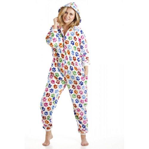Camille - Pijama de una pieza para mujer - Estampado huellas de perro - Multicolor RAINBOW PAW PRINT WHITE