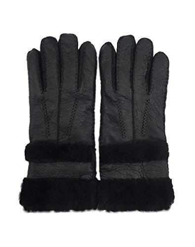 YISEVEN Women's Rugged Sheepskin Leather Shearling Winter Gloves made of Australian Lambskin (CYBER MONDAY SAVING!),black-8.5