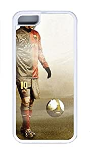 5C Case, iPhone 5C Case Cover, Custom Design Soft Rubber TPU White Cases Fc Barcelona Lionel Messi Shoockproof Protective Case Cover for New Apple iPhone 5C