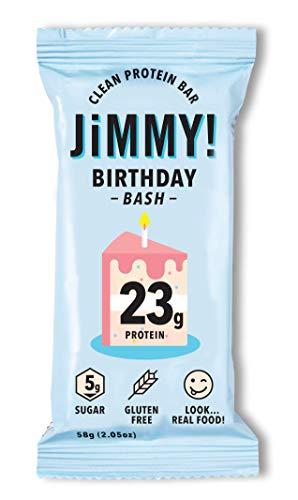 Jimmy! Clean Protein Bar, Birthday Bash, Birthday Cake Energy Bar, 23g Protein, Low Sugar, Gluten Free, 1 Count