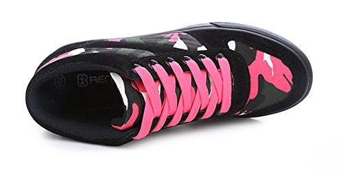 Aisun Femmes Camouflage Haute Hauteur Hauteur Ascenseur Chaussures De Tennis Bottes Noir