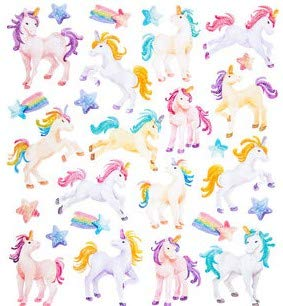 Glitter Unicorn Sticker Sheet, 27 pcs, Colorful, Rainbow, Horses, Glitter, Stars, Scrapbooking, Cards