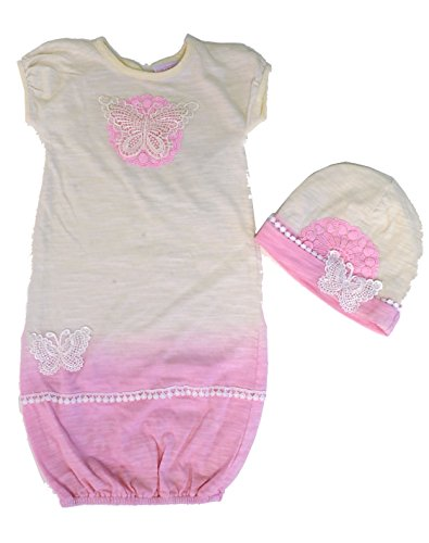 - Cach Cach Dip Dyed Natural Butterfly Baby Gown & Hat Set