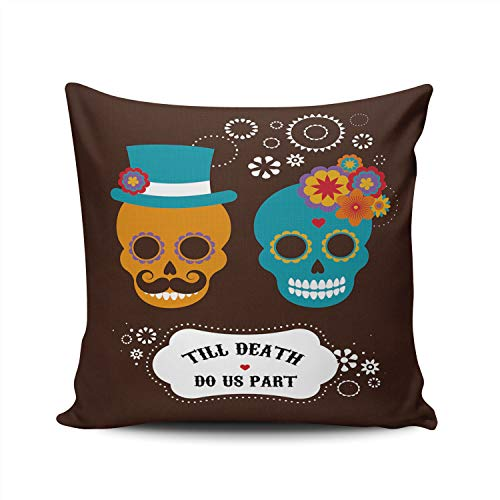 DOUMIFA Cute Hipster Skulls Till Death do Our Party Pillowcase Home Sofa Decorative 24x24 Square Throw Pillow Case Decor Cushion Covers Double Sided Printed ()