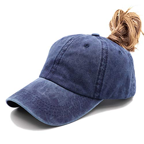 - Ponytail Unconstructed Washed Dad Hat Messy High Bun Ponycaps Plain Baseball Cap Blue