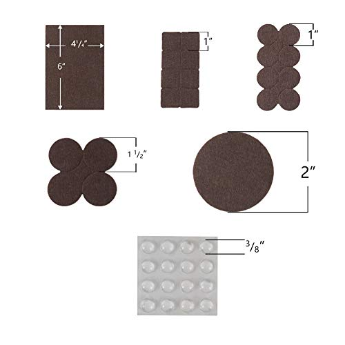 Furniture Felt Pads,Pack of 138 PCS All Size, Self Adhesive Anti Scratch Floor Protectors, Used for Hardwood Tile Wood Floor (Brown)