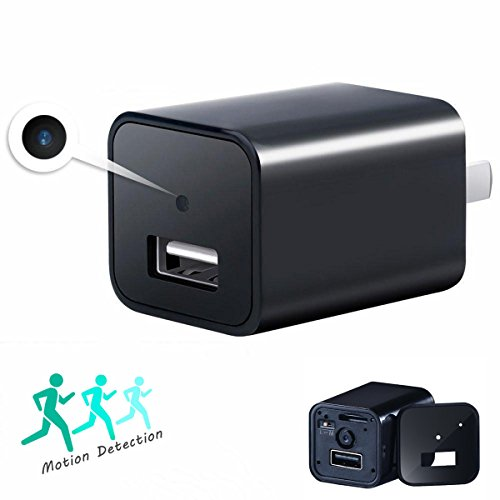 Hidden Cam,Latest 2017 Version USB Wall Charger Nanny Cam Motion Detection Home Security Monitor Camcorder